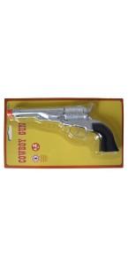 Pistolet de cowboy 8 coups argenté 26 cm