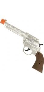 Pistolet de cowboy argent métallique