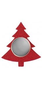 Porte-bougie sapin rouge pailleté 9 x 10 x 1,5 cm