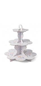 Présentoir Joyeux anniversaire Tutti Frutti 3 étages en carton kraft 34 cm