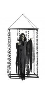 Prisonnier fantôme noir dans cage Halloween 50 cm