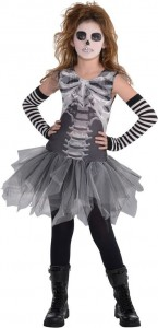 Robe Squelette avec jupon gris Halloween