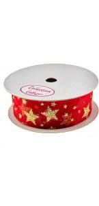 Ruban étoile rouge 25 mm x 3 m