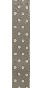 Ruban tissu beige à pois blancs adhésif 1 cm x 2 m