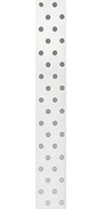 Ruban tissu blanc à pois gris adhésif 1 cm x 2 m