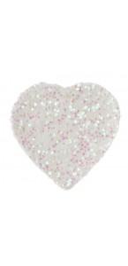 Sachet de 50 confettis cœurs blancs pailletés