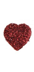 Sachet de 50 confettis cœurs rouges pailletés