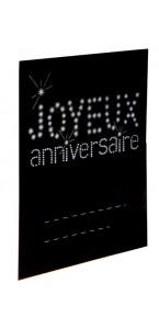 Sachet  de 6 marque-places anniversaire noir