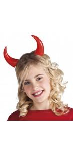 Serre-tête cornes de diable Halloween rouge