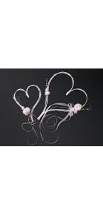 Set de 2 cœurs rotin ivoire + fleurs et rubans