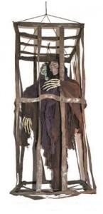 Squelette dans cage avec lumière et bruit Halloween 90 cm