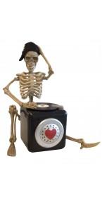 Squelette DJ animé Halloween 28 cm