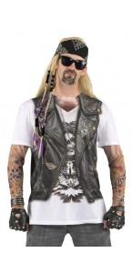 T-shirt veste motard avec tatouages