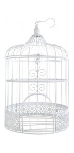 Tire-lire cage métal blanc 20x 20 x 31 cm