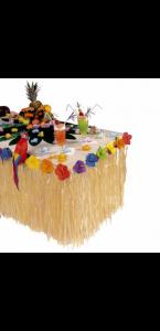 Tour de table en raphia avec guirlande defleurs