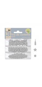 Trio de Confettis argent en sachet- Ronds/Etoiles/Coupes