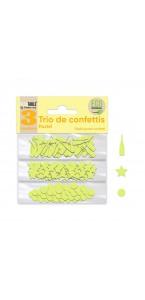 Trio de Confettis or en sachet- Ronds/Etoiles/Coupes