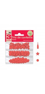 Trio de Confettis rouge passion en sachet- Ronds/Etoiles/Coupes