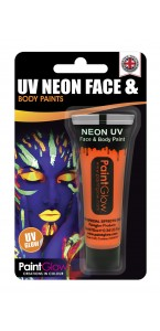 Tube de peinture visage et corps Body paint orange fluo UV  10 ML
