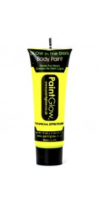 Tube de peinture visage et corps  Body paint phosphorescent jaune fluo 10 ML