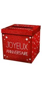 Urne  Joyeux Anniversaire rouge passion pailleté