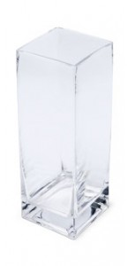 Vase carré en verre 8 x 8 x 23 cm
