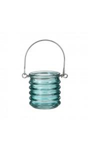 Bougeoir avec anse coloré turquoise 6 x 6 cm