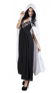 Cape de vampire en velours blanc avec capuche Halloween adulte 170 cm