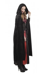 Cape de vampire en velours noire avec capuche Halloween adulte 170 cm