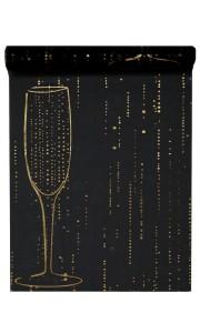 Chemin de table Champagne noir 28 cm  x  5 m