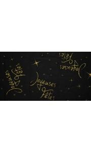 Chemin de table Joyeuses fêtes noir 30 cm  x  5 m