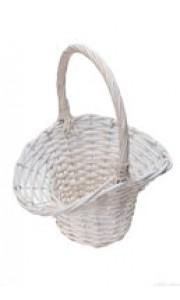Corbeille de mariage osier blanc 30 cm