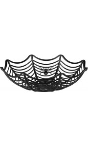 Corbeille toile d'araignée plastique Halloween D 27 cm