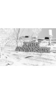 Décoration de table Joyeux Anniversaire argent + 2 étoiles- A poser