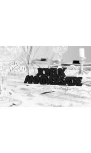 Décoration de table Joyeux Anniversaire noir pur + 2 étoiles  3D- A poser