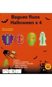 Kit de 4 Bagues fluo Halloween  modèles assortis