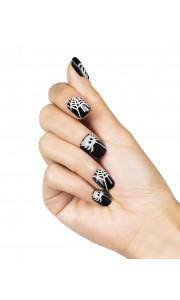 Lot de 10 Faux ongles adhésifs Webby Halloween