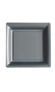 Lot de 12 assiettes carrées jetables grises MM