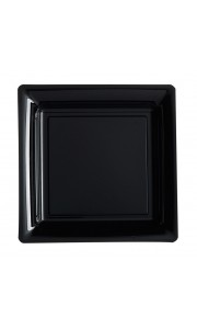Lot de 12 assiettes carrées jetables noires MM