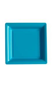 Lot de 12 assiettes carrées jetables turquoise MM