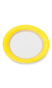 Lot de 12  assiettes jetables en carton Citron D 18 cm