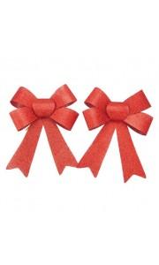 Lot de 2 noeuds paillettes rouges 15 x 18 cm