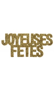 Lot de 6 Confettis de table Joyeuses fêtes or pailleté