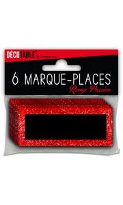 Lot de 6 marque-place pailletés rouge passion
