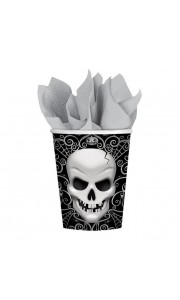 Lot de 8 gobelets Tête de mort Halloween en carton 26,6 cl