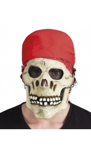 Masque crâne de Pirate en latex  avec bandana Halloween