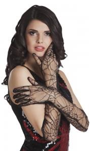 Paire de gants en dentelle motifs araignée Halloween