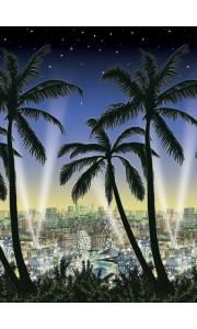 Rouleau déco Hollywood Ville et Palmier