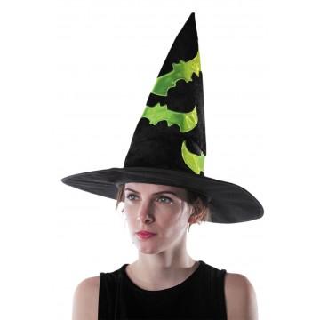 Chapeau de sorcière adulte velours noir réfléchissant