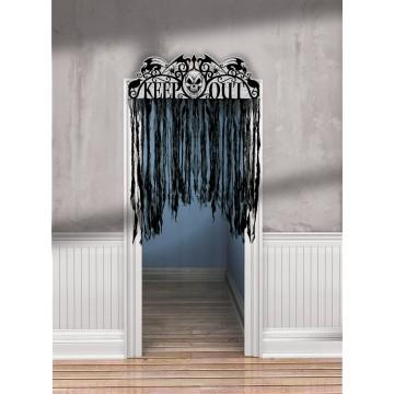 Décoration de porte noire Halloween  1,40 m